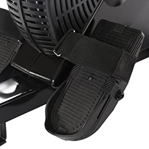 textured foot plates and adjustable straps