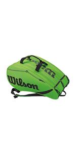 Vert//Noir All Gear Bag Sac de padel Wilson WRZ618300 Unisexe Corde /élastique Jusqu/à 3 raquettes