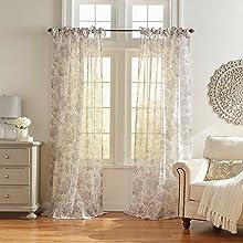 Elrene Home Fashion Westport Sheer Window Curtain Panels