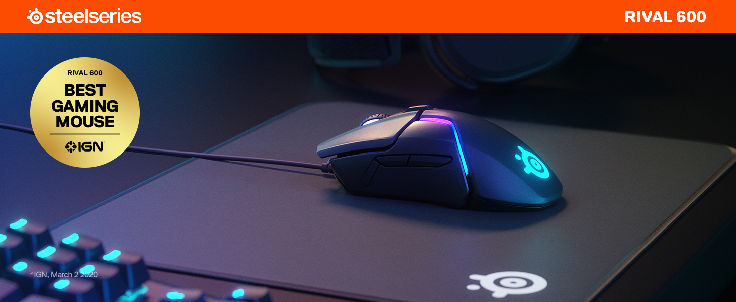 SteelSeries Rival 600, Gaming-Maus, 12.000 CPI TrueMove3+ Dual Optical Sensor, 0,05 Lift-off-Distanz