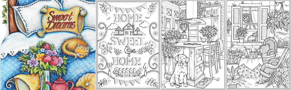adult coloring home house cozy