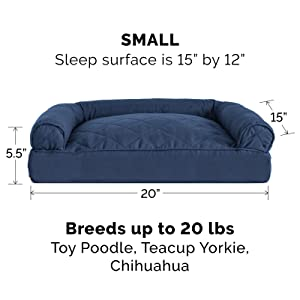 dog; cat; bed; sofa; couch; navy; small