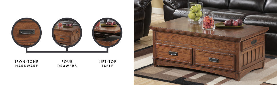 cocktail table lift top coffee wood burnished brown natural grain four drawers storage