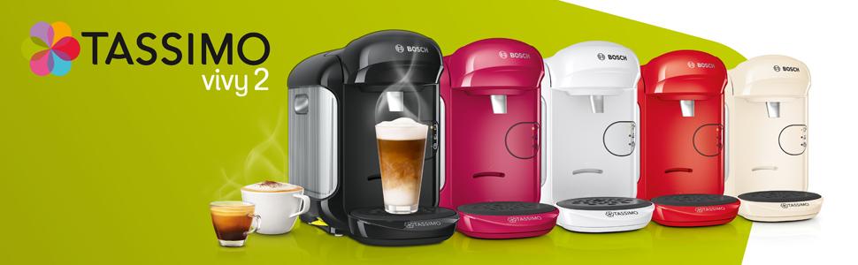 Bosch Tassimo Vivy 2 Cafetera cápsulas, 1300 W, 0.7 litros, Aluminio, Negro: Amazon.es: Hogar