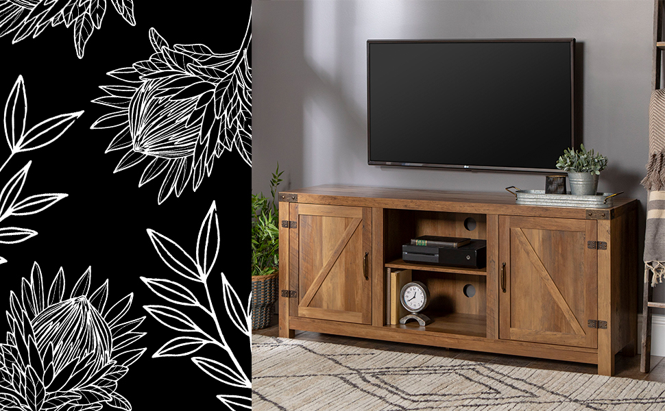 "Farmhouse Barn Door Wood Universal TV Stand for TV's up to 64"" Flat Screen Living Room Storage"