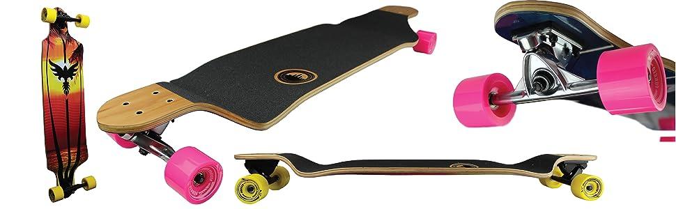 Drop down longboard Complete Skateboard shape concave