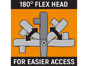180° flex head for increased access infographic