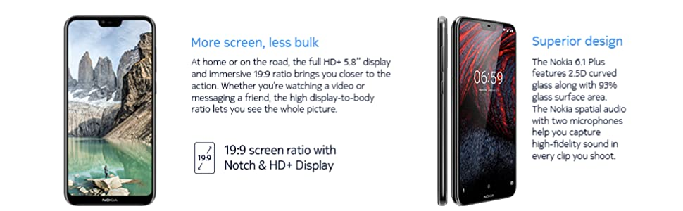 Nokia 6 1 Plus (Black, 6GB RAM, 64GB Storage)