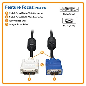 High Resolution cable with RGB Coax P556-003 ,Black Tripp Lite DVI to VGA Monitor Cable 3-ft. DVI-A M to HD15 M
