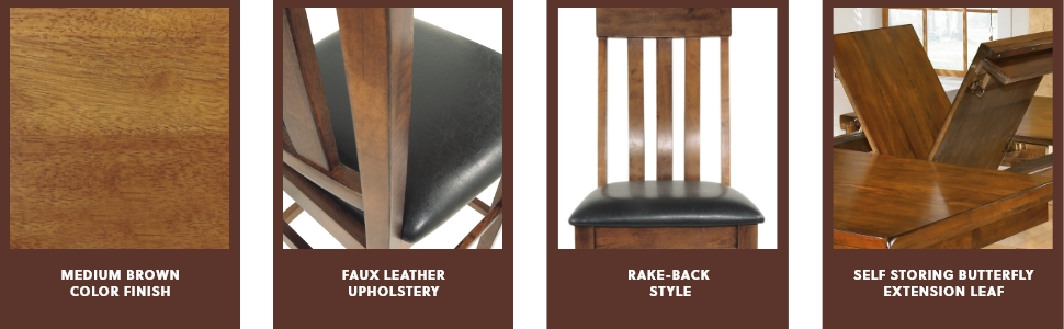 medium brown color finish faux leather upholstery rake-back self storing butterfly extension leaf