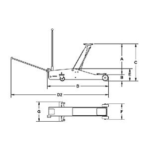 RH215 Wagenheber Abmessungen