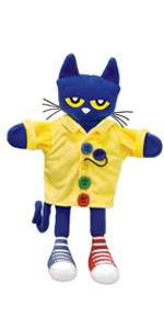 pete the cat puppet;cat puppet;pete buttons;pete book;picture book;blue cat;educational puppet