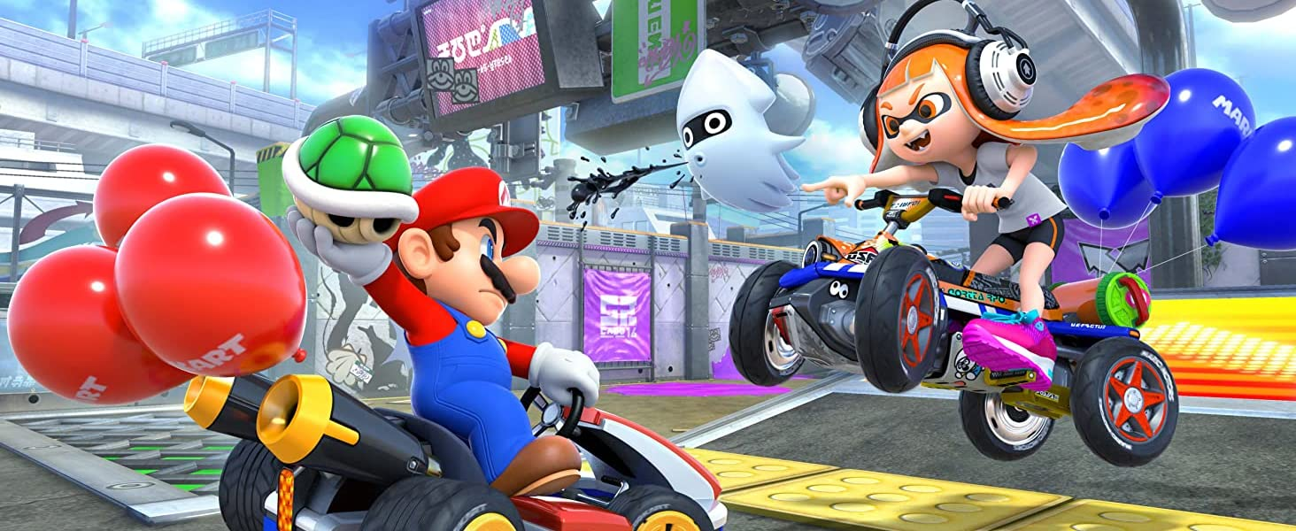Mario and Inkling battle on karts!