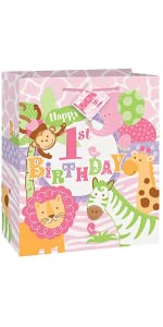 Jumbo Plastic Pink Safari First Birthday Gift Bag Wrapping Paper