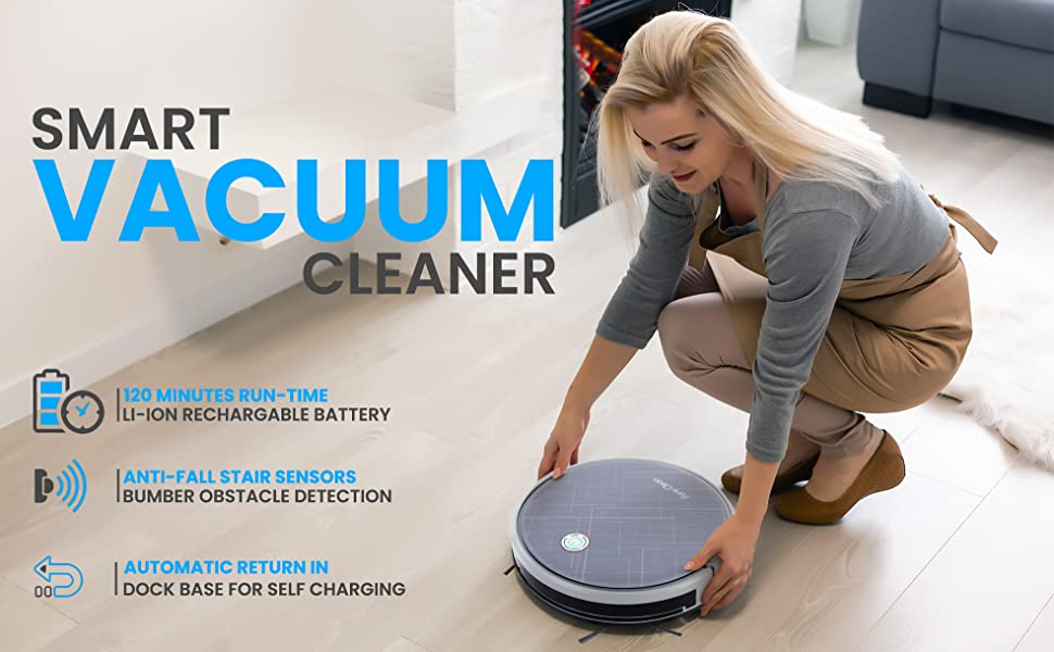 Automatic;Robot Vacuum Cleaner;Lithium Battery 90 Min Run Time;Robotic Auto Home Cleaning for Clean;