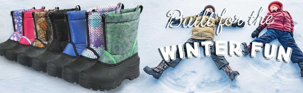 kids snow boot, girls insulated winter boots, boys snowboots