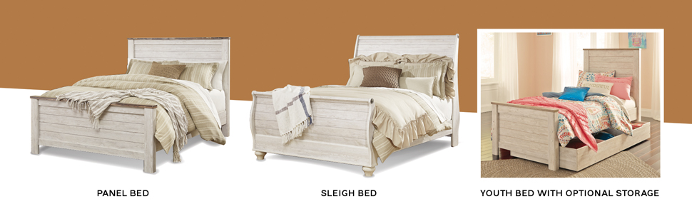 panel sleigh youth bed frame with storage headboard footboard rails antique white wash two tone