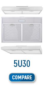 COS-5U30, 30 inch, under cabinet, range hood, stainless steel, dishwasher safe filters, led lights