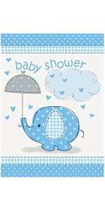 Blue Elephant Boy Baby Shower Invitations, 8ct