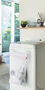 山崎実業 マグネット 洗濯機横 洗濯ネットハンガー タワー ホワイト 3621