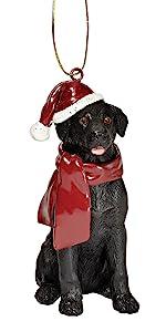 Design Toscano Black Labrador Retriever Holiday Dog Christmas Tree Ornament Xmas Decorations