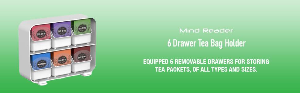 6 Drawer Tea Bag Holder, Tea Bag Organizer