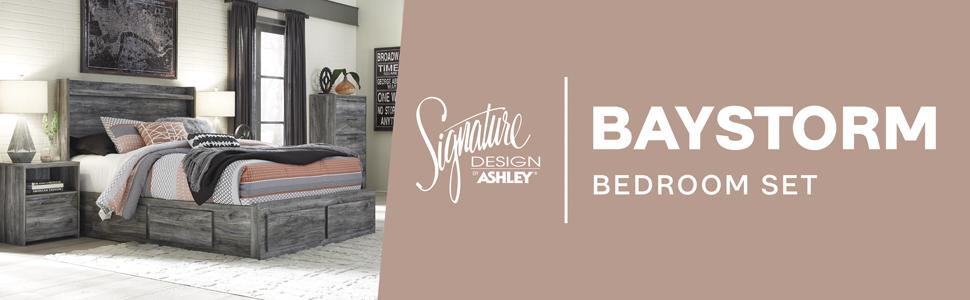 Amazon Com Signature Design By Ashley Baystorm Nightstand Gray Furniture Decor
