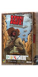 Bang!, Oeste, Edge Entertainment, Asmodee, juego de mesa, dados, cartas