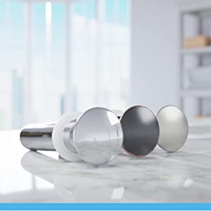 Designed for vessel sinks, each vessel pop-up drain opens and closes with a press to its cap.