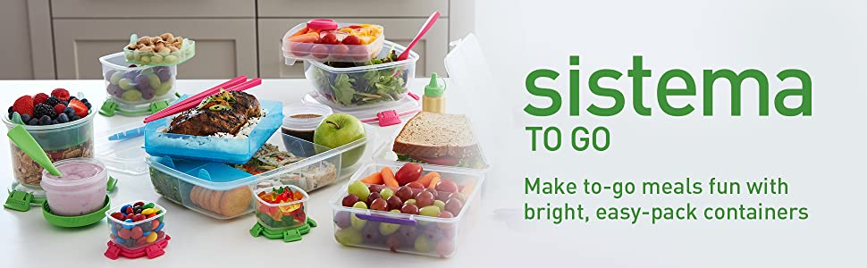 Sistema To Go Make to-go meals fun with bright, easy-pack containers