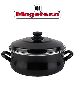 Desconocido Magefesa Black Cacerola 20 de Acero esmaltado con Tapa, Antiadherente bicapa Reforzado, con Negro Exterior. Apta para Todo Tipo de ...