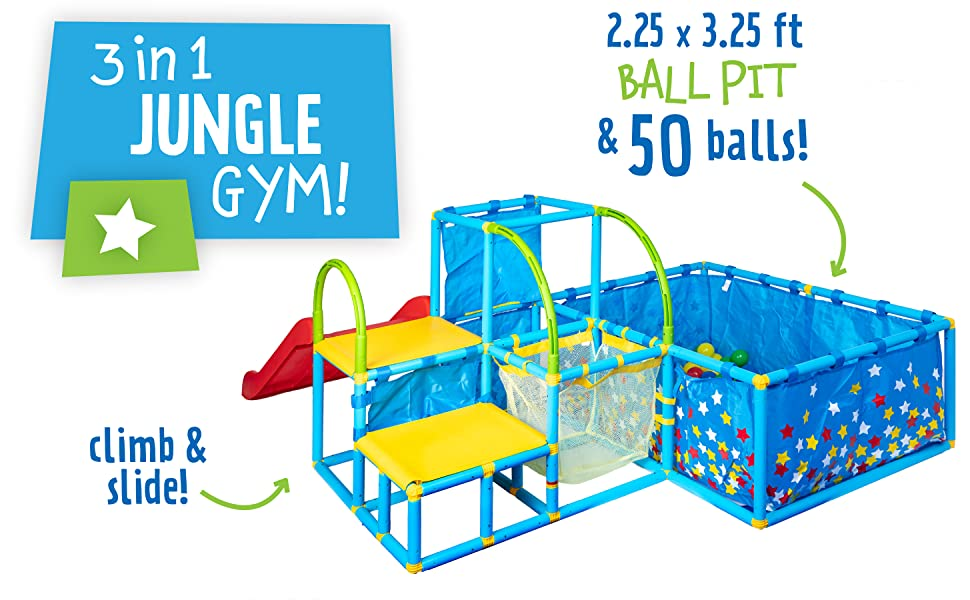3 in 1 jungle gym! Ball Pit and 50 balls. climb and slide.