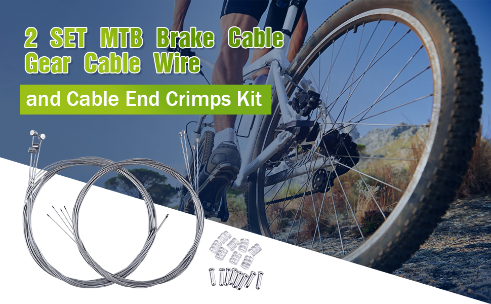 Mountain Bike Brake Cable Gear Wire And End Crimps Kit Cables Part 2 Set