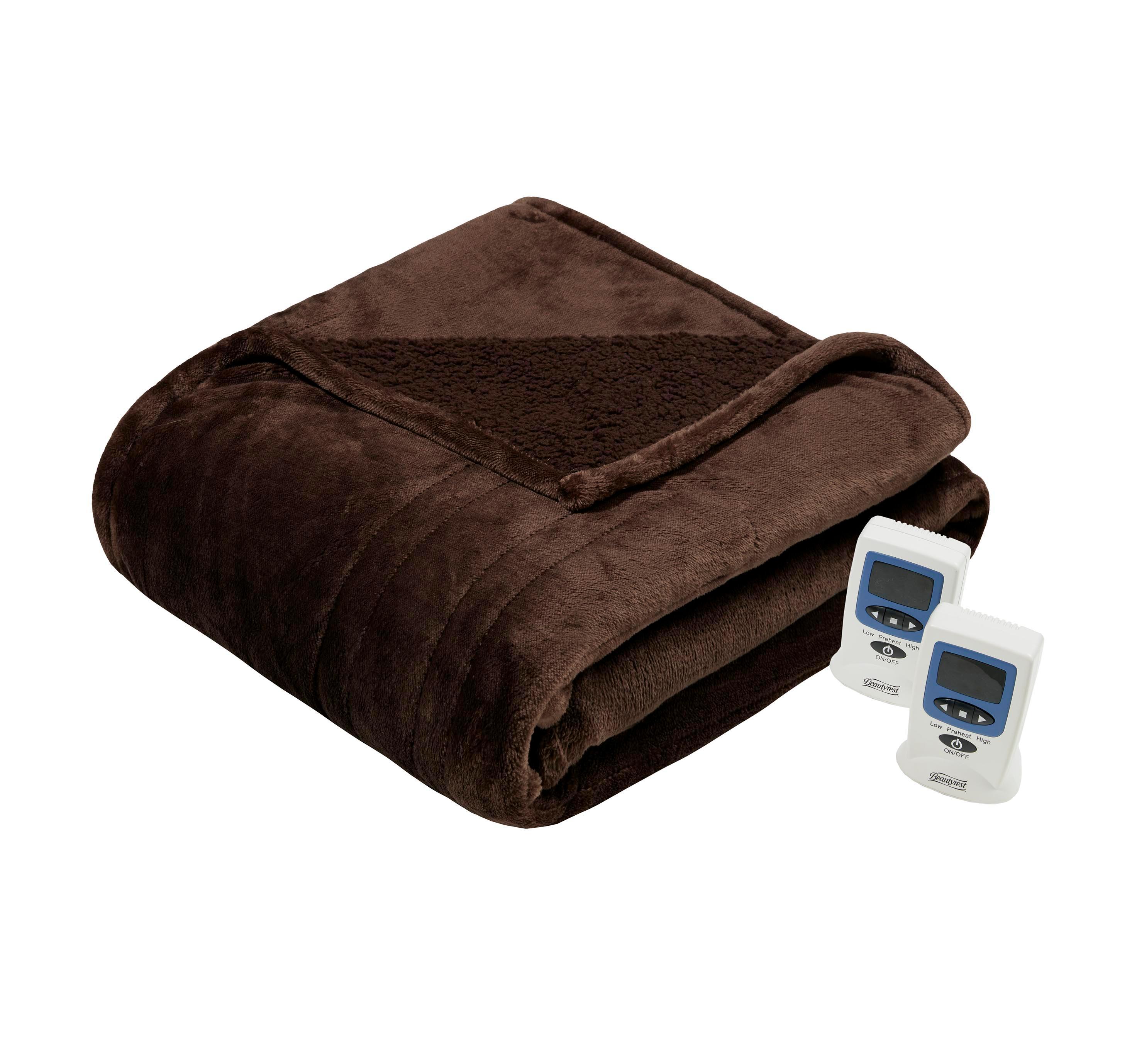 Beautyrest Solid Microlight Berber Heated Blanket Queen