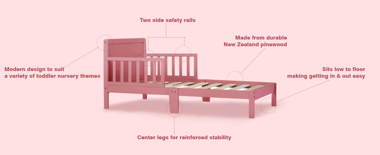 two sided safety rail, modern design toddler bed, durable, portable, toddler bed, bed for babies