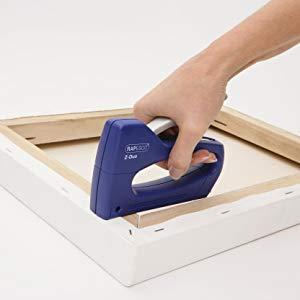 Rapesco Mini Duo - Grapadora de pared suministrada con 300 grapas, usa grapas 13 y 53/4-8 mm, color azul