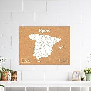 Miss Wood Mapa de España de Corcho, Pino, Blanco, XL-60x90cm ...