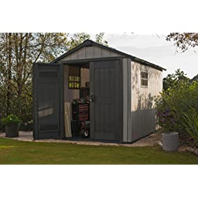 Keter Oakland 7 5 x 11 Outdoor Duotech Storage Shed, Paintable with Two  Windows and a Skylight
