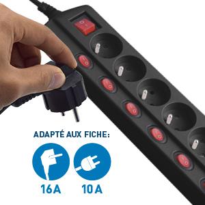 5M Section 3G1mm/² Noir Interrupteurs d/éport/és longeur 1 Electraline 35434 Bloc Multiprises 6 Prises