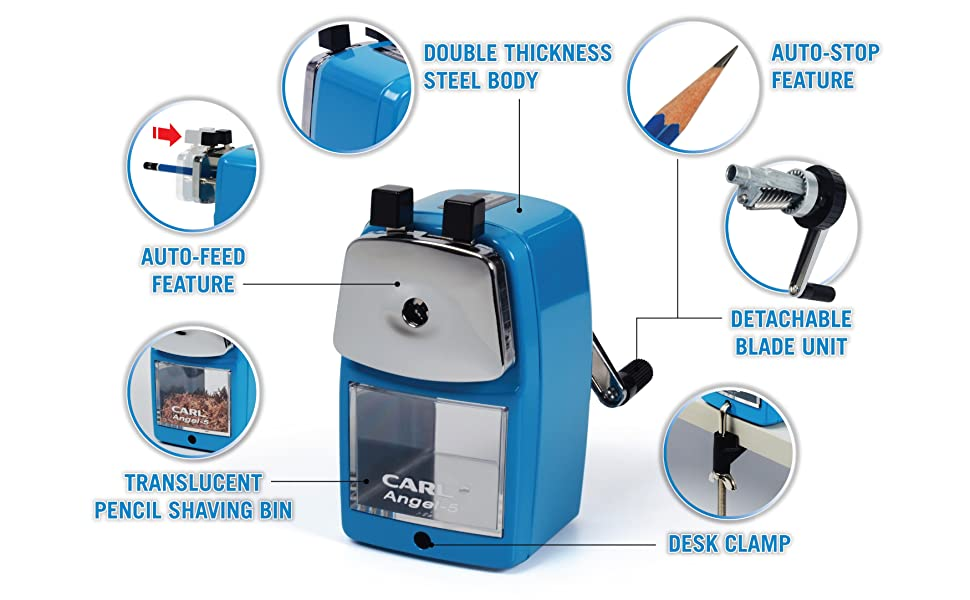 Carl A5 quiet pencil sharpener for home, school and office