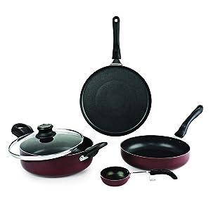nonstick aluminium cookware, prestige, pigeon, hawkins, nirlon,cello