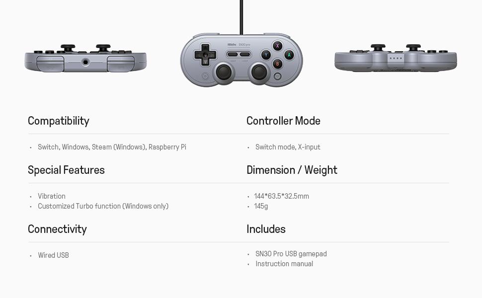8bitdo Sn30 Pro Usb Gamepad For Nintendo Switch Windows Raspberry Pi Sn Edition Amazon Ca Computer And Video Games