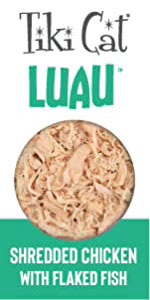 luau chunky shredded chicken poultry flaked fish moisture high protein meat carnivore all breeds