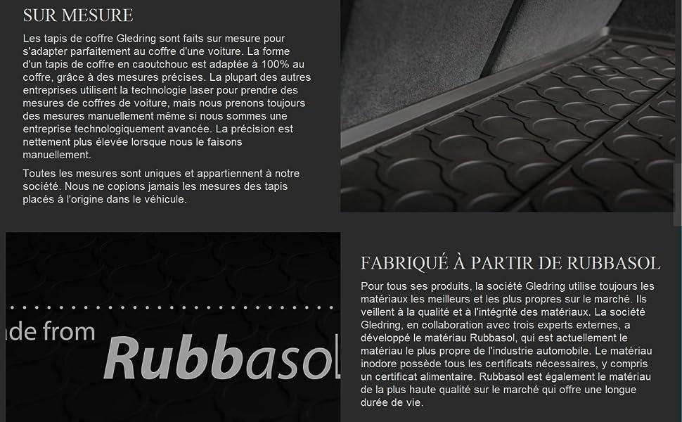 Noir Gledring 1217 Coquille Coffre-Arri/ère Rubbasol 2017- X3 Sol en Haut Caoutchouc G01