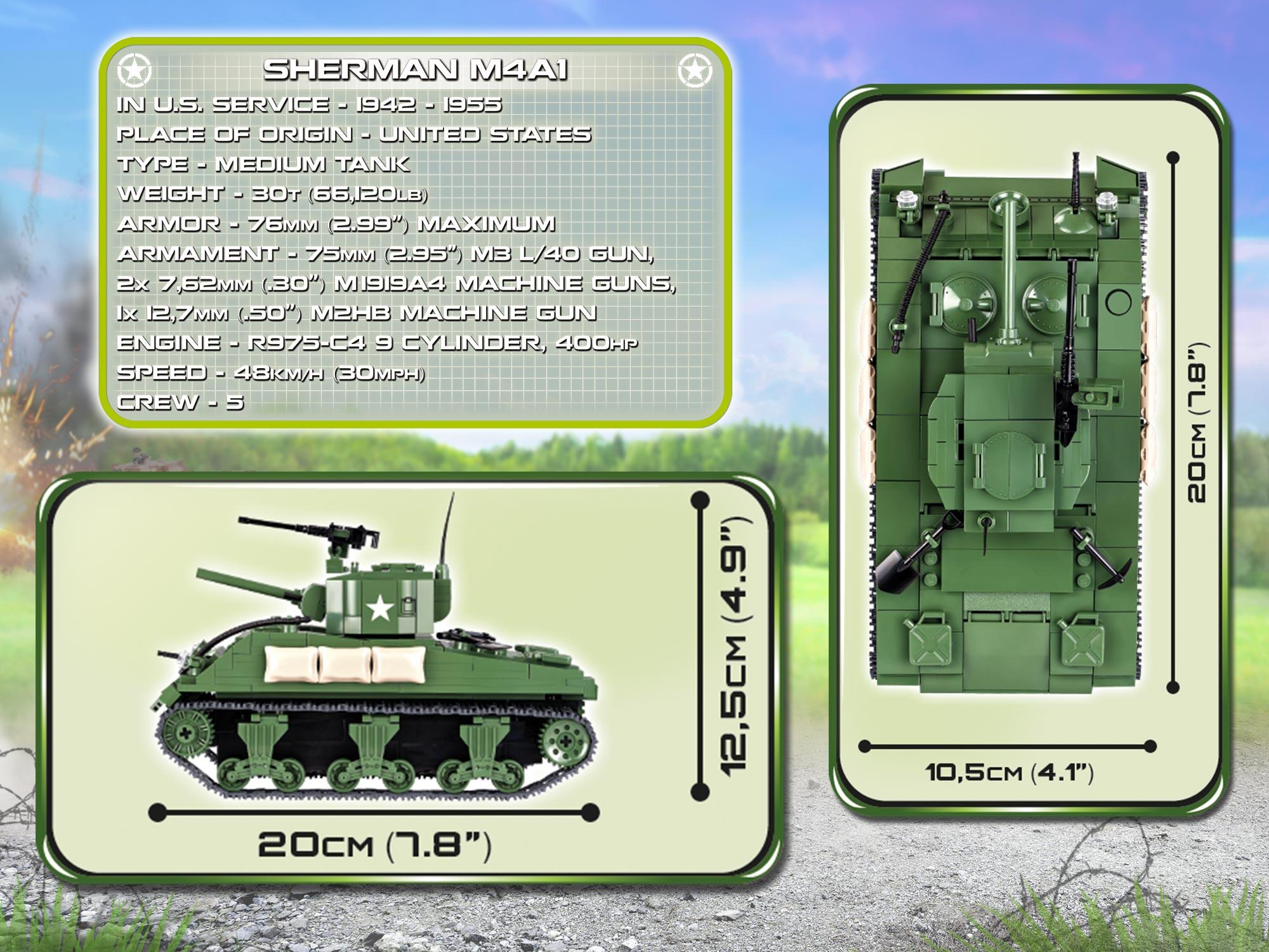 COBI Small Army WW-Sherman M4A1 Tank Building Kit - Amazon