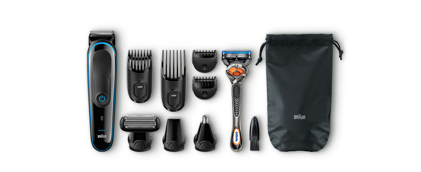 Braun Multi Grooming Kit MGK3085 Black/Blue – 9-in-1 Precision Trimmer for Beard and Hair Styling