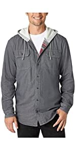Authentics Long Sleeve Blanket Lined Shirt With Hood