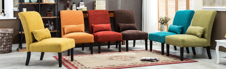 Roundhill Furniture Pisano Linen Fabric Armless