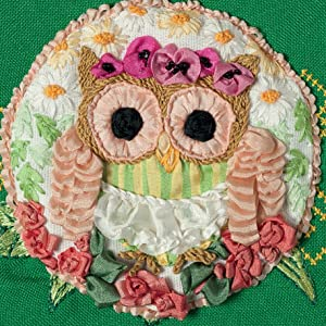 owls,owl,ribbon embroidery,flower crown,tatiana popova,flowers,floral,silk ribbon embroidery,stitch