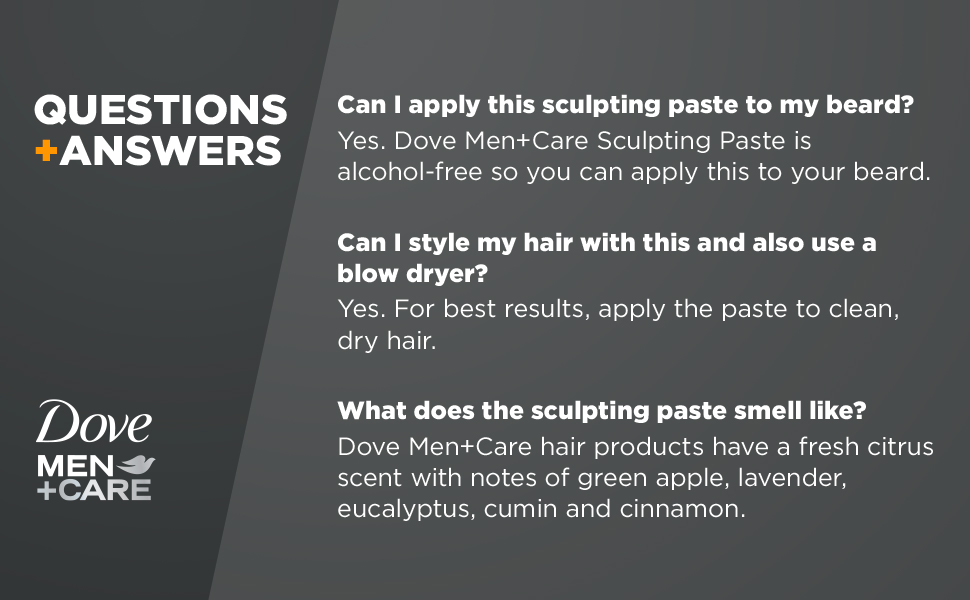 Amazon Com Dove Men Care Styling Aid Hair Product Medium Hold Sculpting Hair Paste Hair Styling For A Textured Look With A Matte Finish 1 75 Oz Beauty